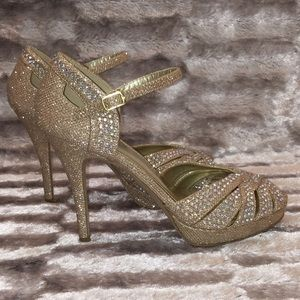 Gold Shimmer Iridescent Jeweled Bling 4.5'' Heel